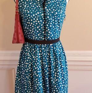 Kensie Teal Polka Dot Sleeveless Dress